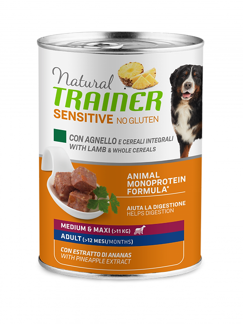 Natural Trainer Sensitive No Gluten Medium&Maxi Adult con Agnello, cereali 400 G