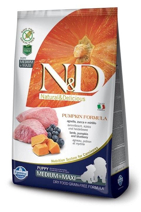 Farmina N&D Grain Free Pumpkin Puppy Medium & Maxi Agnello, Zucca Mirtilli 2.5kg