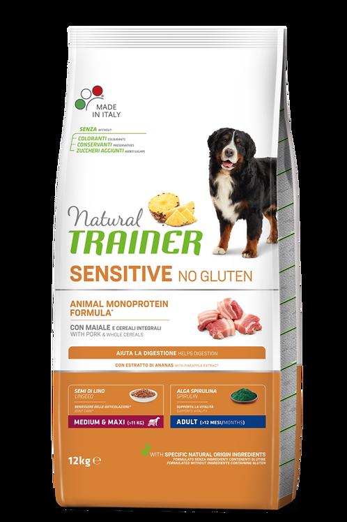 Natural Trainer Monoproteico Sensitive No Gluten Medium&Maxi Adult Maiale 12 Kg