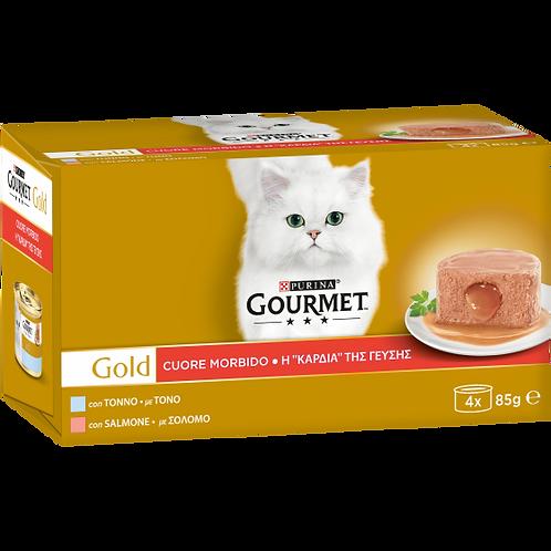 GOURMET Gold Cuore Morbido Gatto con Tonno, Salmone 4 x 85 Gr.