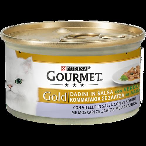 GOURMET Gold Gatto Dadini in Salsa,con Vitello in Salsa con Verdure 85 Gr.