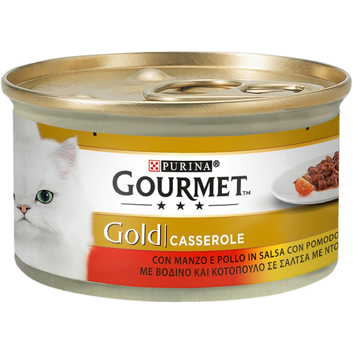 GOURMET Gold Gatto Casserole con Manzo e Pollo in Salsa con Pomodoro 85 Gr.