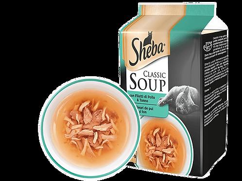 Sheba Classic Soup Zuppa con Filetti di Pollo e Tonno 4 x 40 Gr.