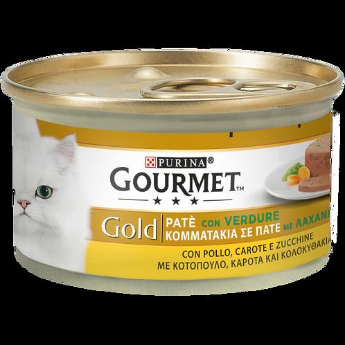 GOURMET Gold Gatto Patè con Verdure, con Pollo, Carote e Zucchine 85 Gr.
