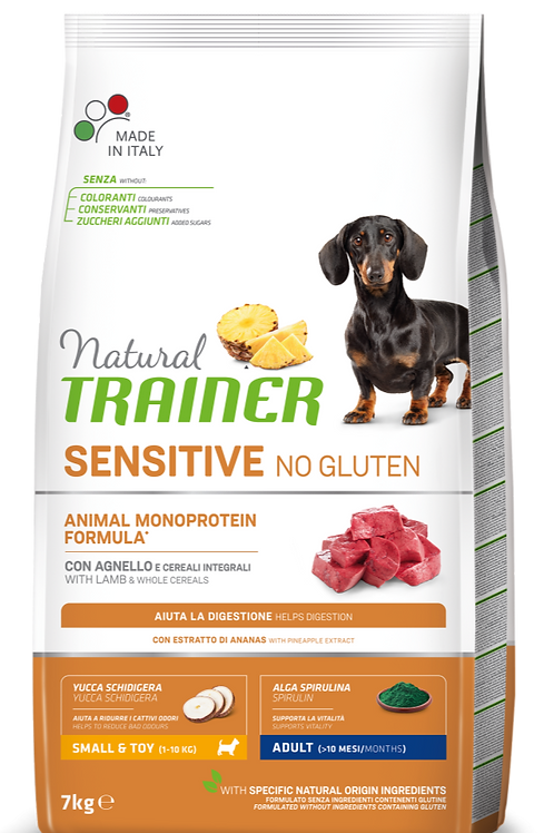 Natural Trainer Sensitive No Gluten Monoproteico Mini Adult con Agnello 7 Kg.