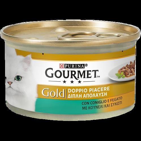 GOURMET Gold Gatto Doppio Piacere con Coniglio e Fegato 85 Gr.