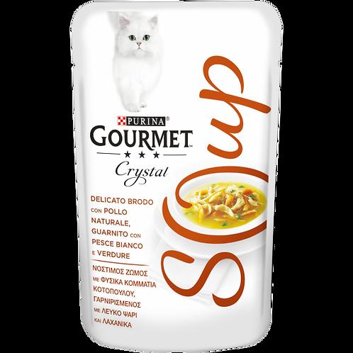 GOURMET Crystal Soup Delicato brodo con Pollo, con Pesce Bianco e Verdure 40 g