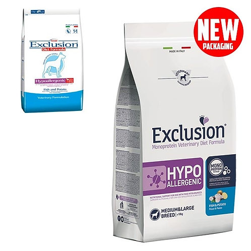 Exclusion - Diet Hypoallergenic Medium/Large Breed Pesce e Patate