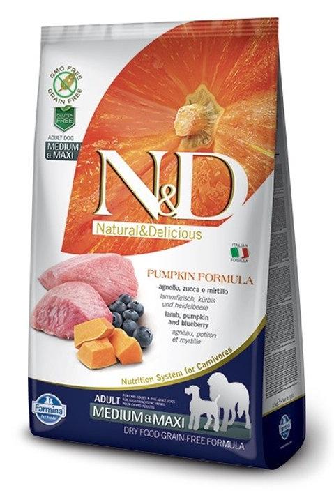 Farmina N&D Grain Free Pumpkin Adult Medium & Maxi Agnello, Zucca Mirtilli 12kg