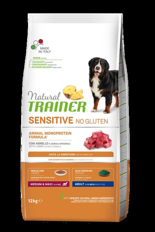 Natural Trainer Monoproteico Sensitive No Gluten Medium&Maxi Adult Agnello 12 Kg