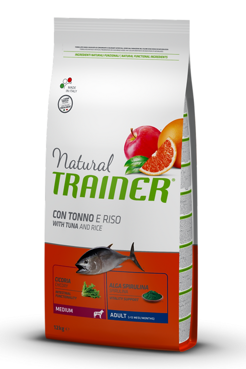 Natural Trainer Adult Medium con Tonno e Riso 12 Kg.