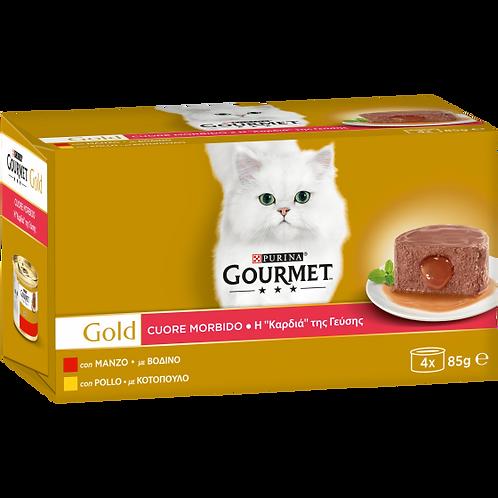 GOURMET Gold Cuore Morbido Gatto con Manzo, Pollo 4 x 85 Gr.