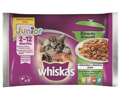 Whiskas Gatti Straccetti Junior 2-12 mesi 4x85Gr. con Pollo,Salmone,Manzo,Pesce