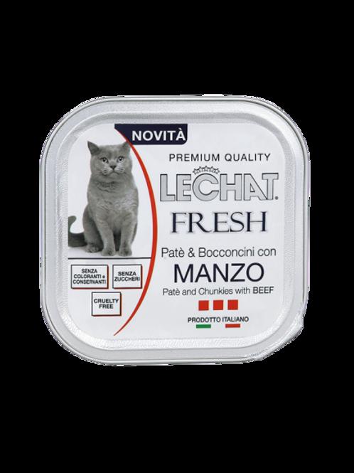 LeChat Fresh Patè & Bocconcini con Manzo 100 Gr.