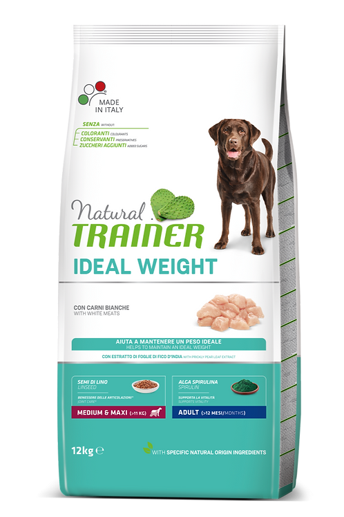Natural Trainer Ideal Weight Medium/Maxi Adult con Carni bianche 12 Kg.