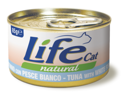 Life Cat Natural Tonno con Pesce Bianco 85 Gr.