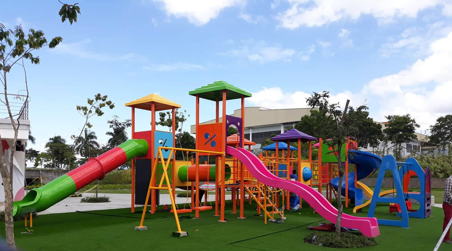 Customized Play Equipment  -Long Wave Slide - Tube Slide - Crawl Tube - Spiral Slide - Panel - Flooring  - Stairs with steel railing - 2 seater swing set - Roof
