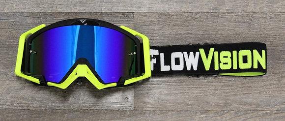 Flow Vision Rythem™ Motocross Goggle: Black/Flo Yellow