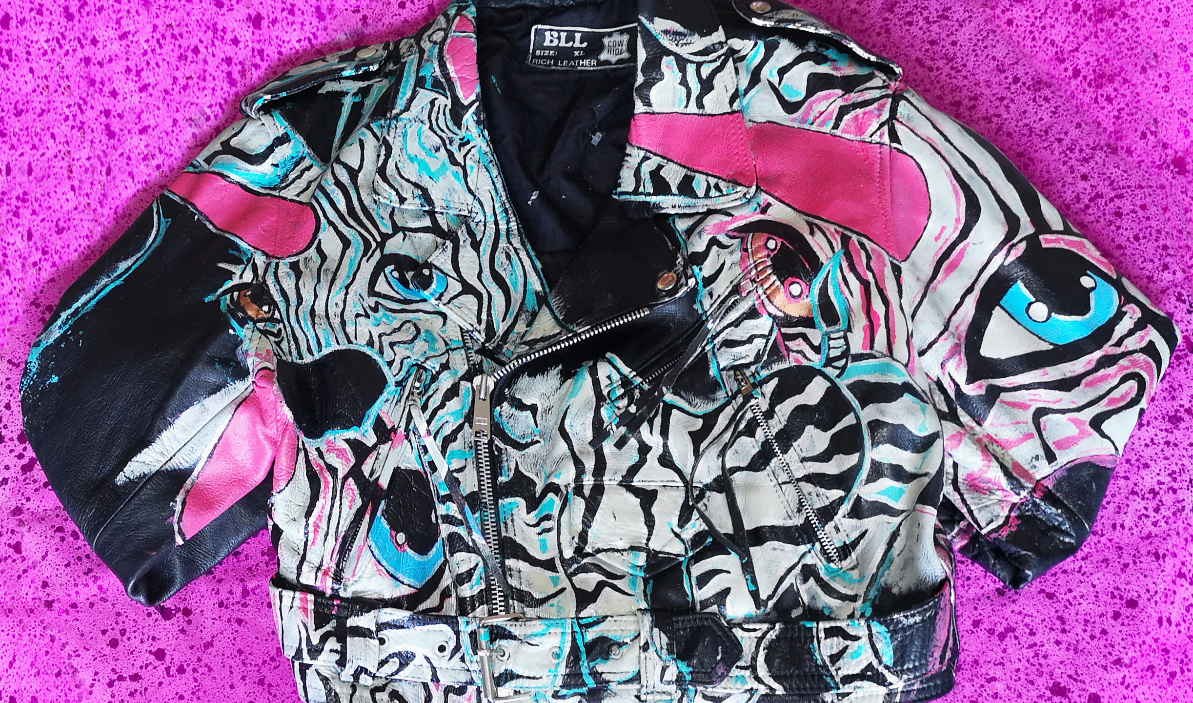 ZANBY Hand Painted Leather Cropped Biker Jacket Vintage Punk. Size Large. 2018