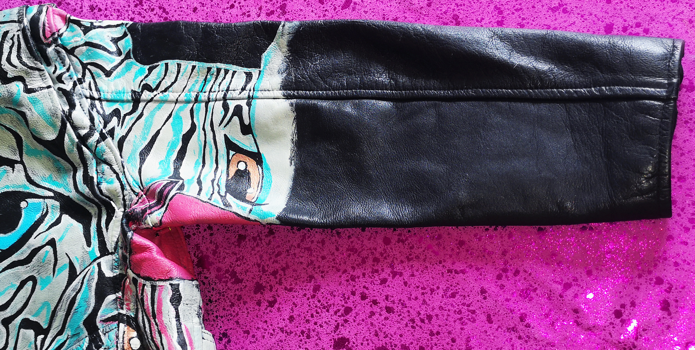 ZANBY Hand Painted Leather Cropped Biker Jacket Vintage Punk. Size Large