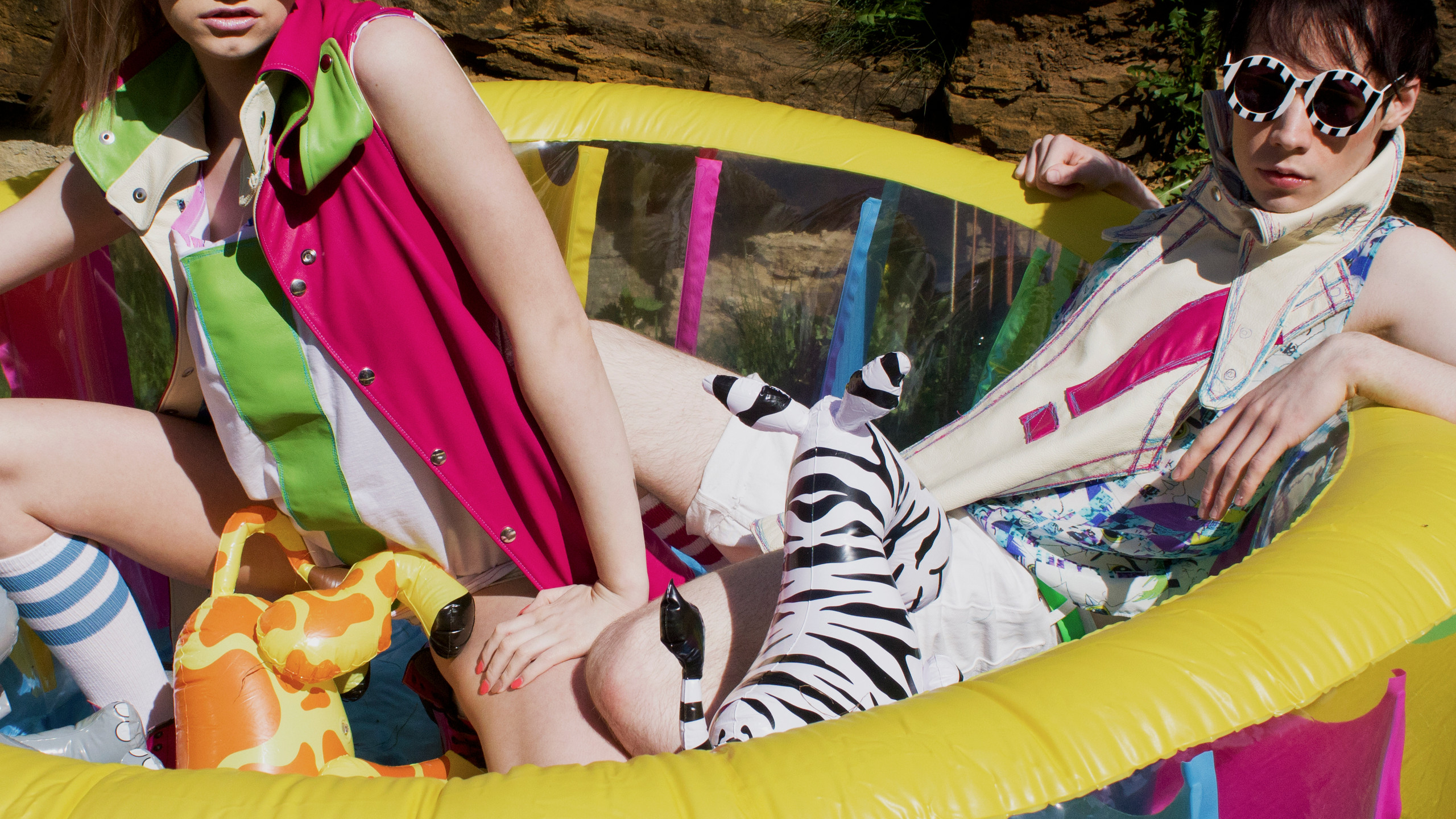 Pool Party, 2013.  Clothes for X Claim Nation by Peter Marsh.  Creative Director, Peter Marsh.  Photographer Natalie Marsh.  Model Rebecca Metcalf and Peter Marsh.