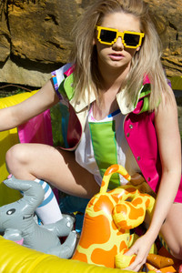 Pool Party, 2013.  Clothes for X Claim Nation by Peter Marsh.  Creative Director, Peter Marsh.  Photographer Natalie Marsh.  Model Rebecca Metcalf