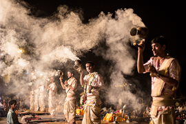 The evening aarati at the Ghats.