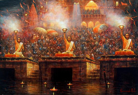 Evening Aarati at the Ghat: A painting