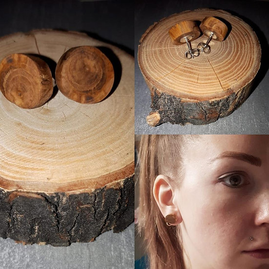 Handmade Honeysuckle Real Wood Stud Earrings *Iron