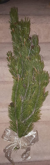 Pine bunch with silver swirls and bow $10