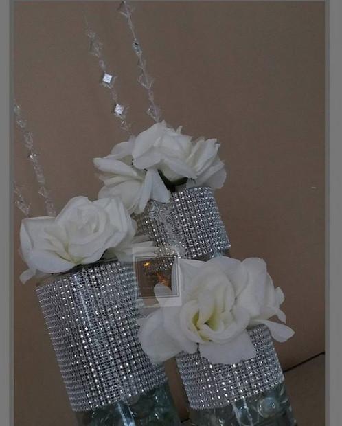 Set Of 3 Bling Vases W Acrylic Gems