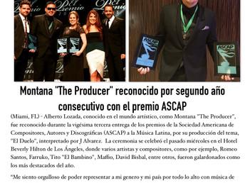 """Montana """"The Producer"""" reconocido por segundo año consecutivo con el premio ASCAP"""