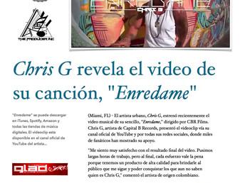 """Chris G revela el video de su canción, """"Enredame"""""""
