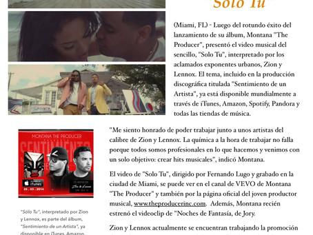 "Montana ""The Producer"" presenta a Zion y Lennox en ""Solo Tu"""