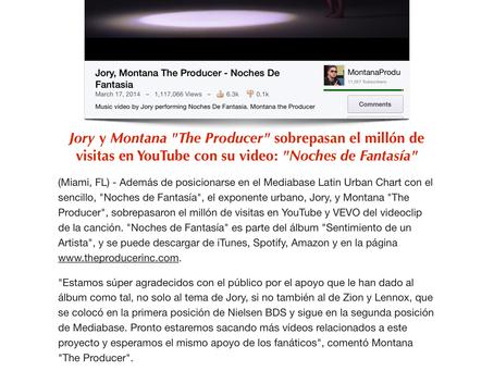 """Jory y Montana """"The Producer"""" sobrepasan el millon de visitas en YouTube con su video: """"Noches de Fa"""