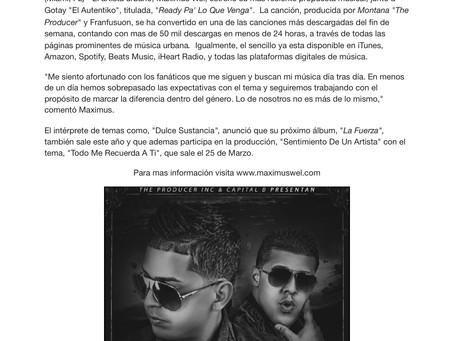 """Maximus Wel estrena """"Ready Pa' Lo Que Venga"""" junto a Gotay """"El Autentiko"""""""