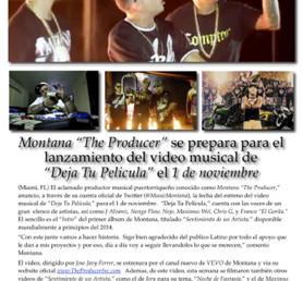 """Montana """"The Producer"""" se prepara para el lanzamiento del video musical de   """"Deja Tu Pelicula"""" el 1"""