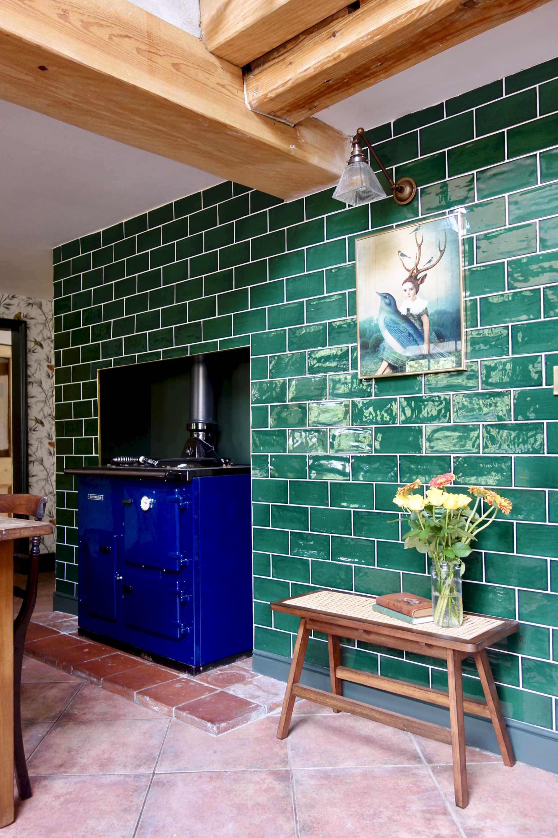 Tiled chimney breast