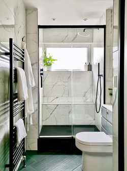 The Marble and Black Shower Room