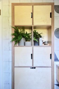 Built in birch ply bathroom storage