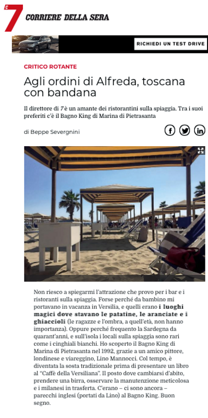 Articolo giornale su Bagno King ristorante , scritto da Beppe Severgnini, Corriere della sera