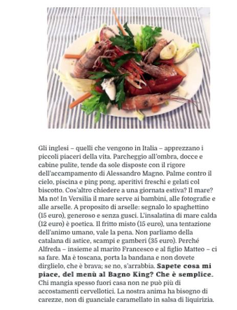 Menu ristorante del Bagno King, Versilia, Spaghetti alle aerselle, fritto misto, catalana