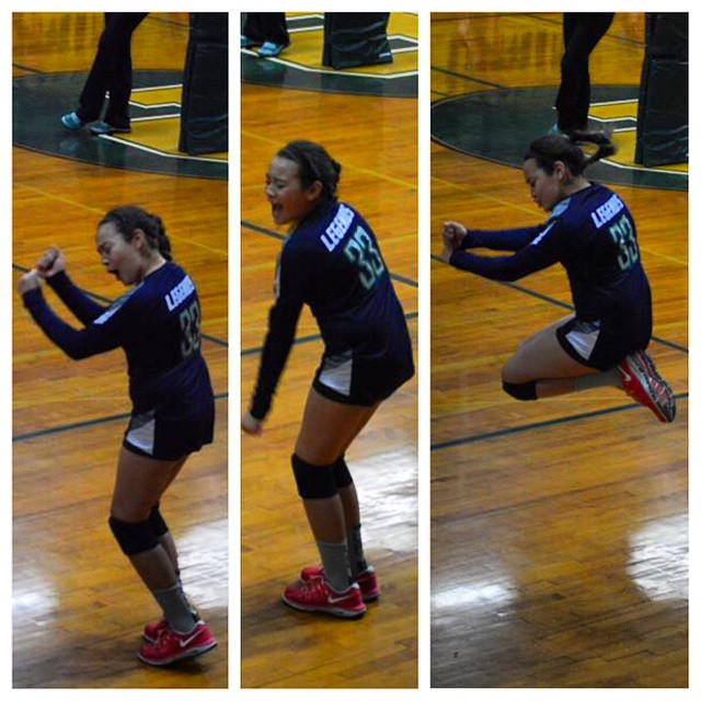 I don't know how you cheer for an ace, but this is how we do #ace #bounce #gethappy #volleyball #lov