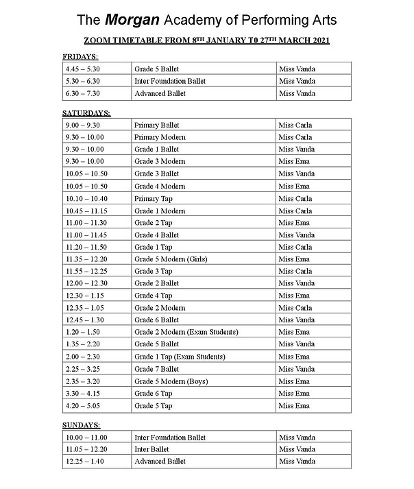 Zoom Timetable Spring Term 2021 for webs