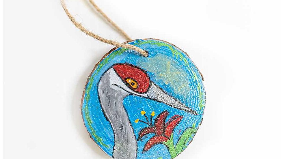Sand Hill Crane Wood Slice Ornament