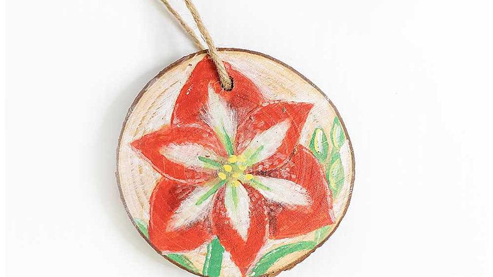 Full Bloom Amaryllis Wood Slice Ornament