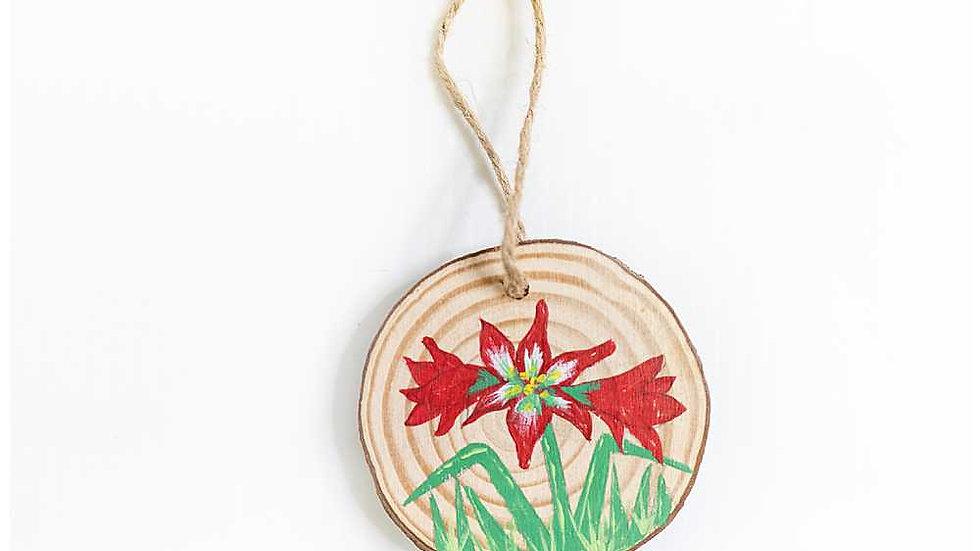 Amaryllis Wood Slice Ornament