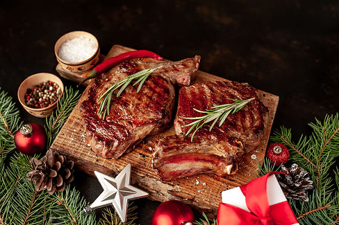 Christmas dinner for two, grilled beef s