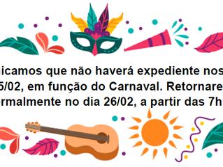Comunicado - Carnaval 2020