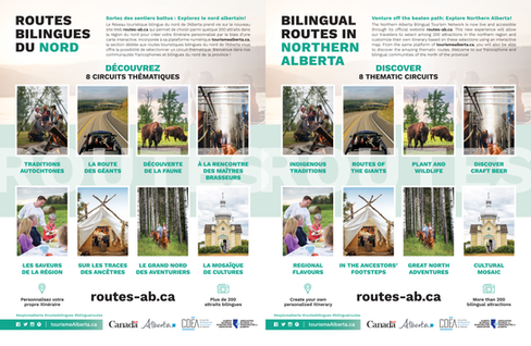 Bilingual promotional advertising design and layout, Go East of Edmonton